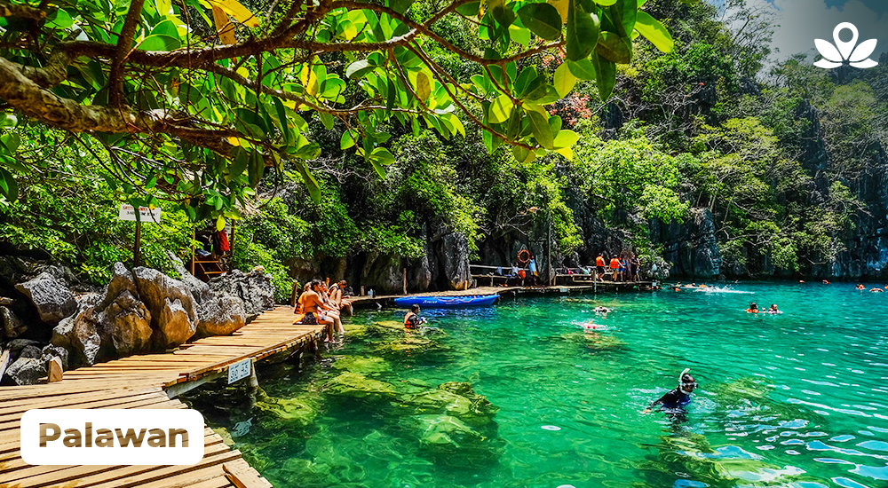 travelers chilling in a lagoon in palawan