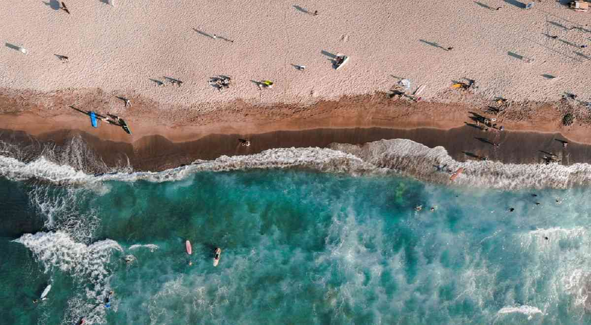 Aerial View of the surfers in Beaches in La Union